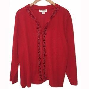 CD Daniels Red Zipper Knit Cardigan 1X NWOT
